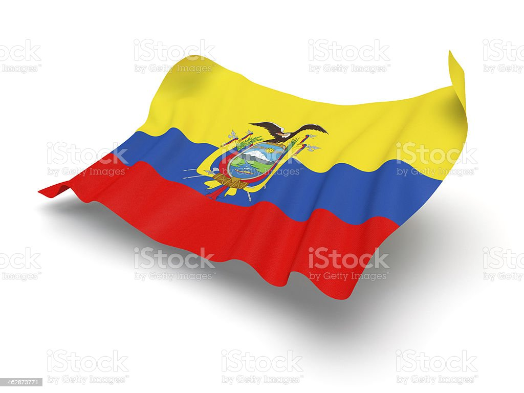 Hovering Flag of Ecuador (Clipping Path) stock photo