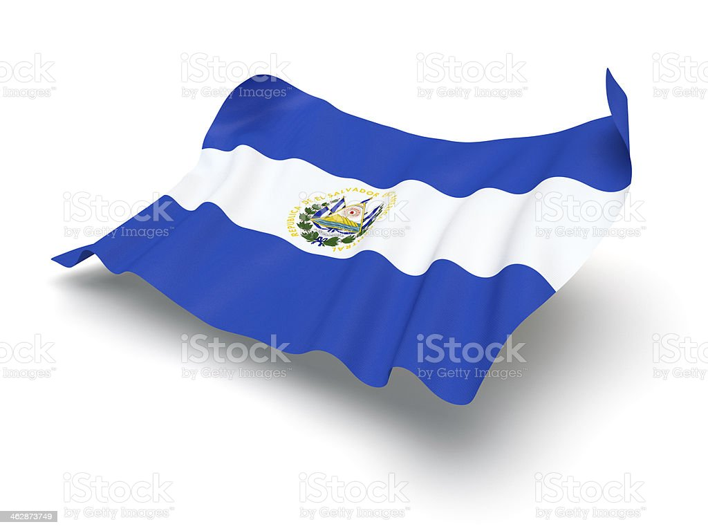 Hovering Flag of El Salvador (Clipping Path) stock photo