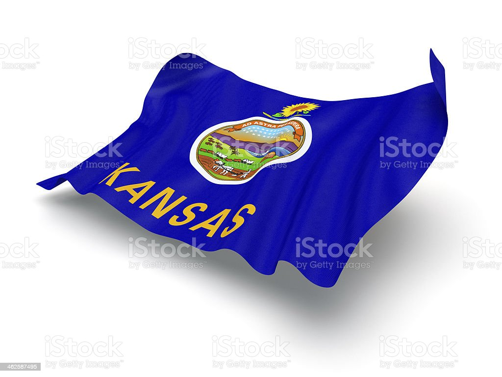 Hovering Flag of Kansas (Clipping Path) royalty-free stock photo
