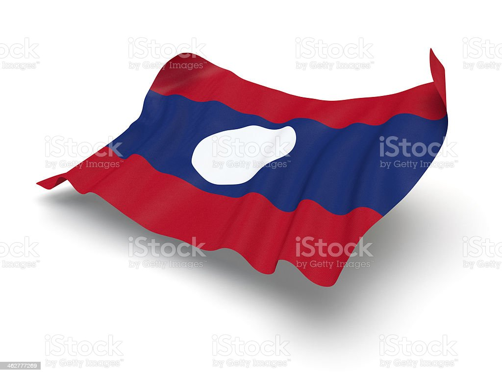 Hovering Flag of Laos (Clipping Path) stock photo