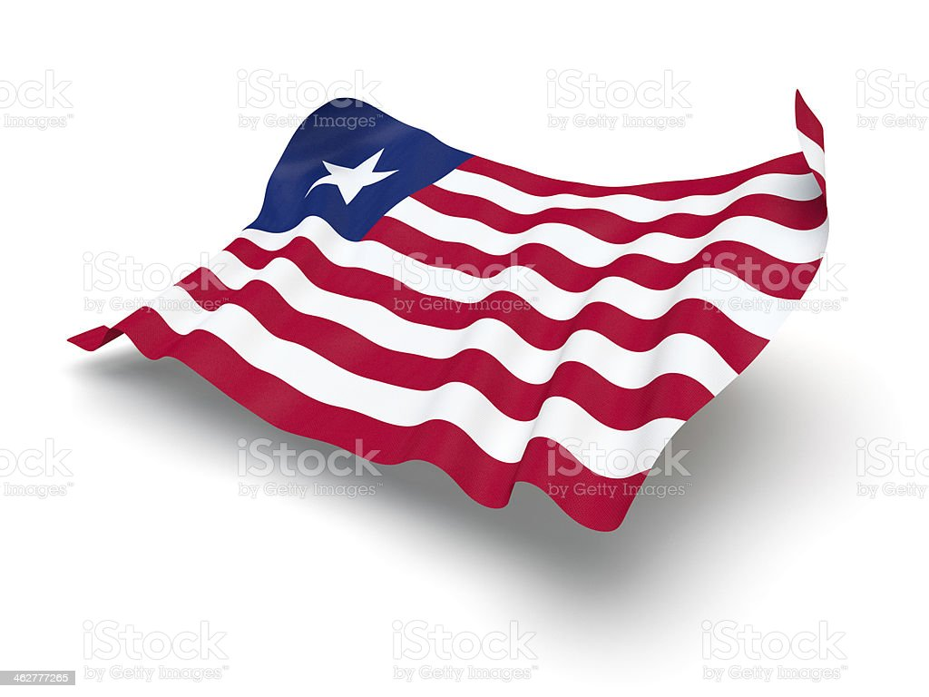 Hovering Flag of Liberia (Clipping Path) stock photo