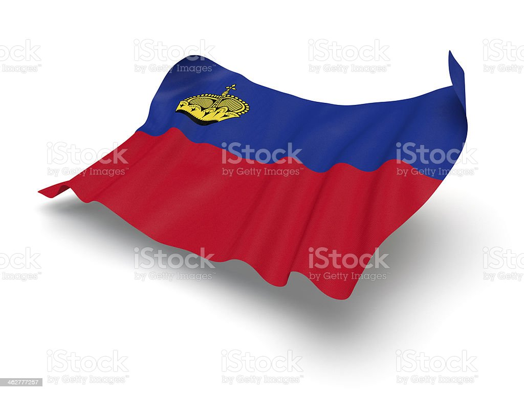 Hovering Flag of Liechtenstein (Clipping Path) stock photo