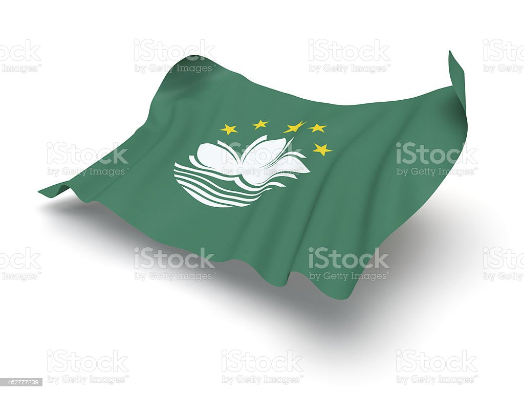 Hovering Flag of Macau (Clipping Path) stock photo