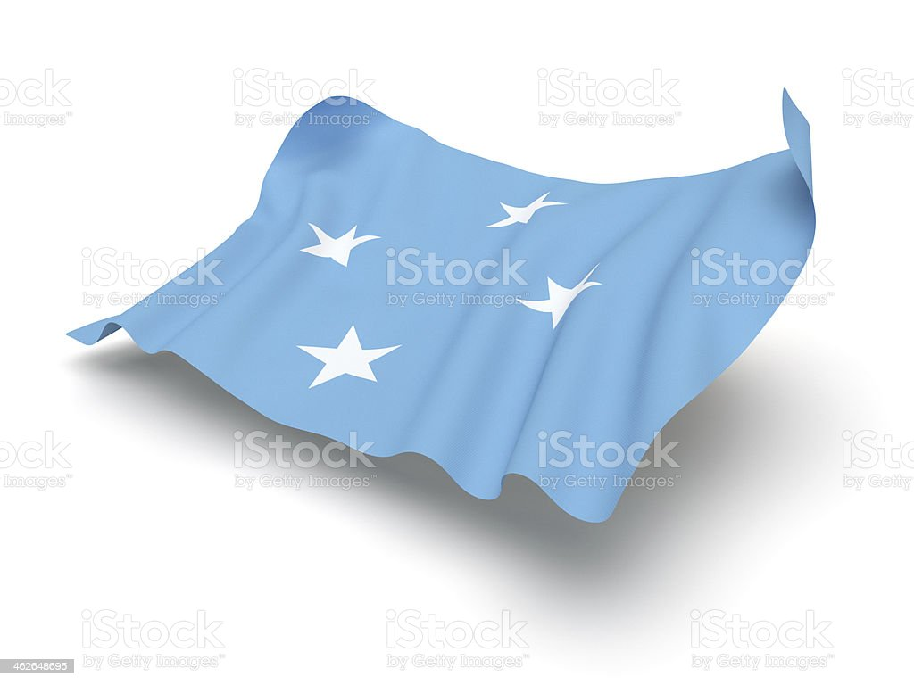 Hovering Flag of Micronesia (Clipping Path) stock photo
