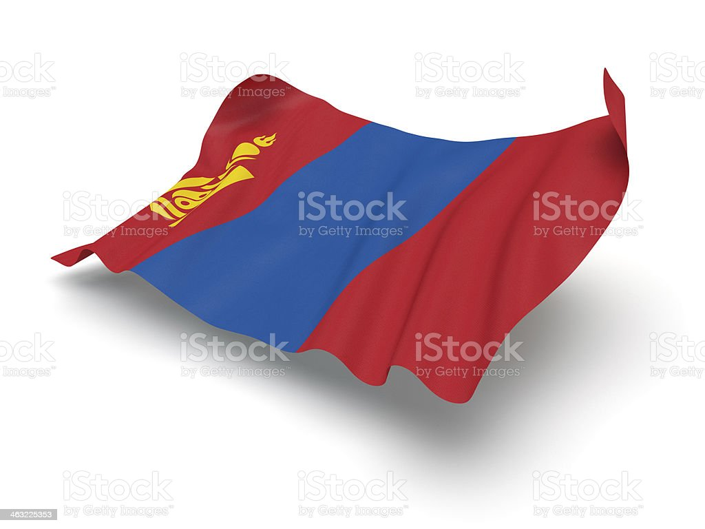 Hovering Flag of Mongolia (Clipping Path) stock photo