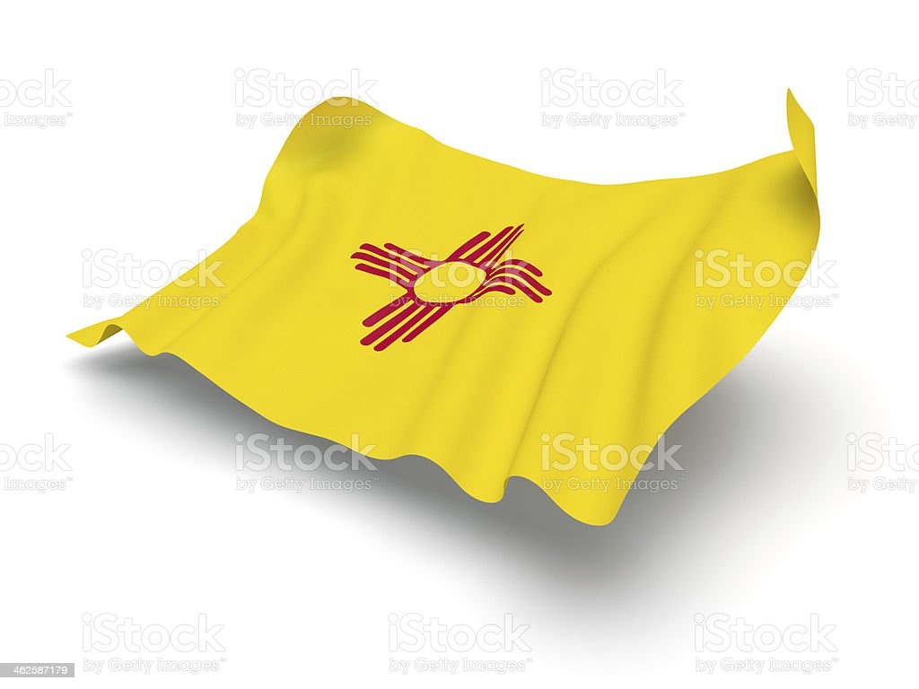 Hovering Flag of New Mexico (Clipping Path) stock photo