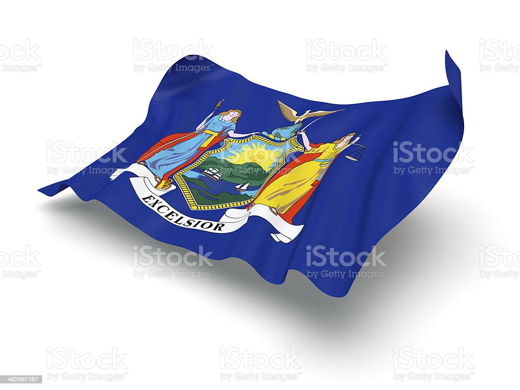 Hovering Flag of New York (Clipping Path) stock photo