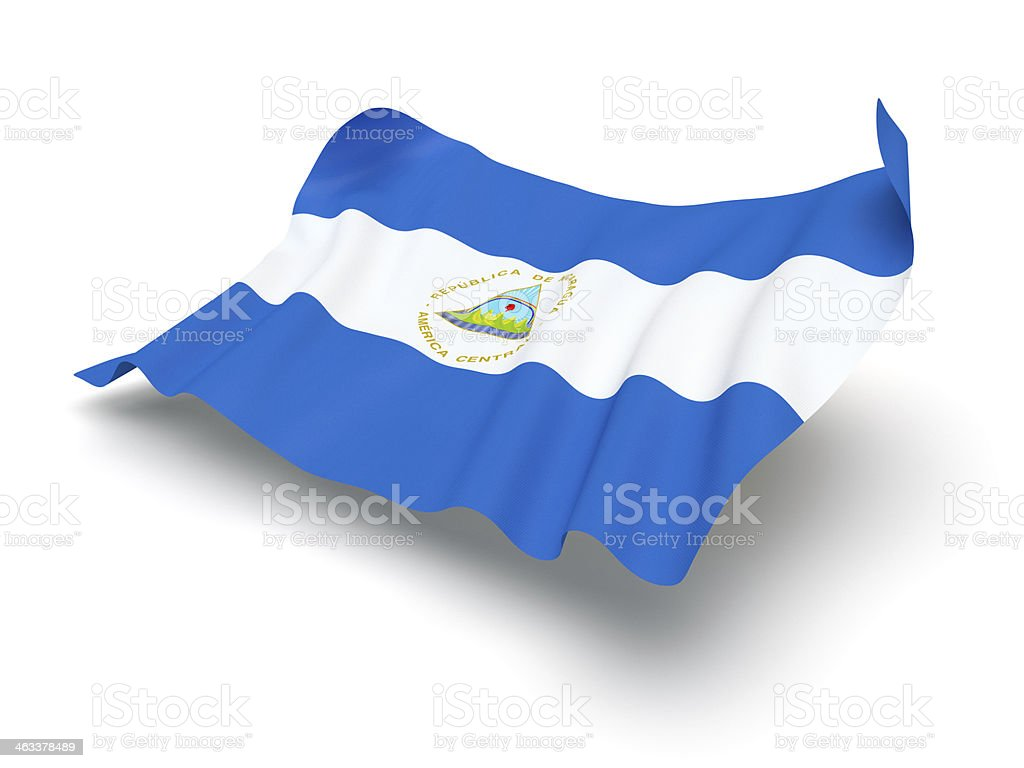 Hovering Flag of Nicaragua (Clipping Path) stock photo
