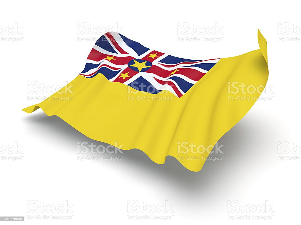 Hovering Flag of Niue (Clipping Path) stock photo
