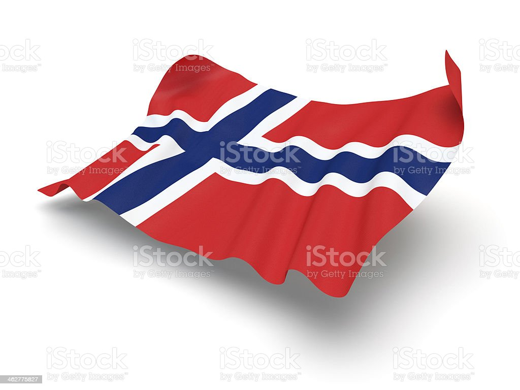 Hovering Flag of Norway (Clipping Path) stock photo