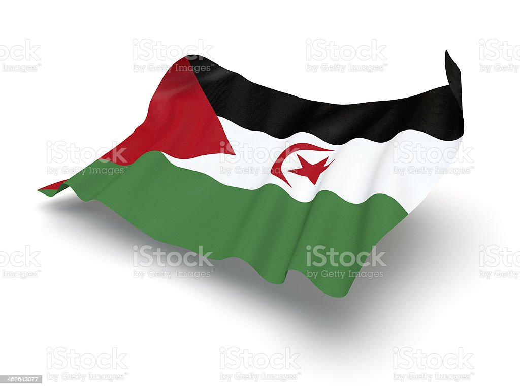Hovering Flag of Sahrawi Arab Democratic Republic (Clipping Path) stock photo