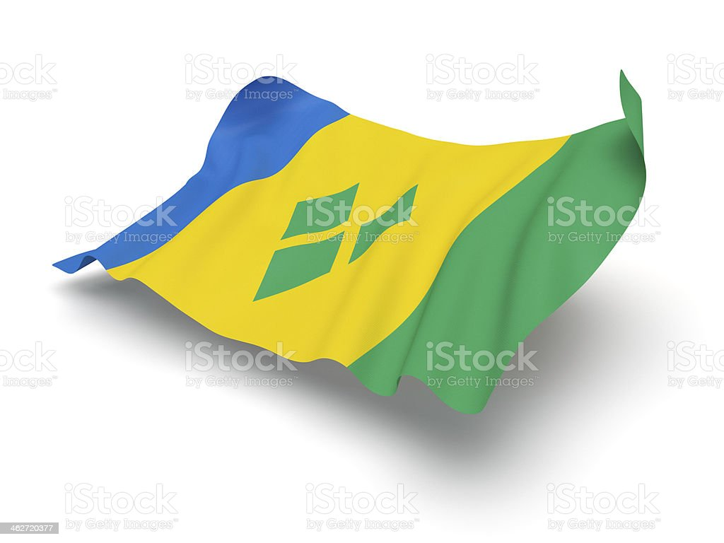 Hovering Flag of Saint Vincent and the Grenadines (Clipping Path) stock photo