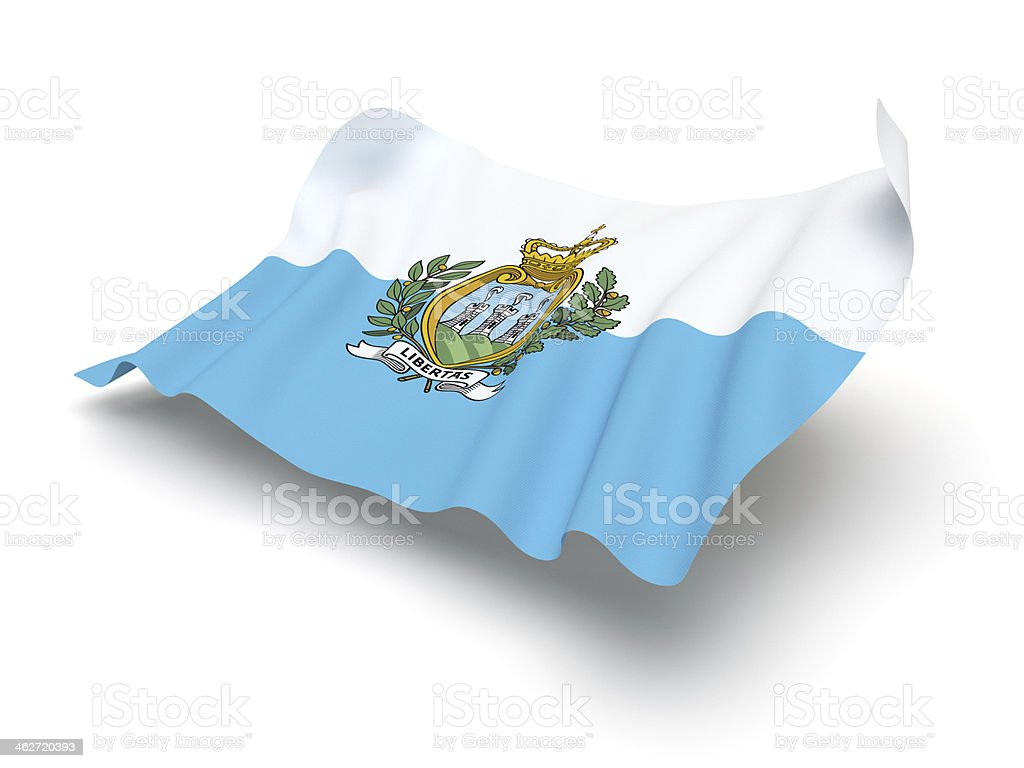 Hovering Flag of San Marino (Clipping Path) stock photo