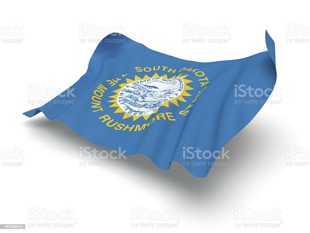 Hovering Flag of South Dakota (Clipping Path) stock photo