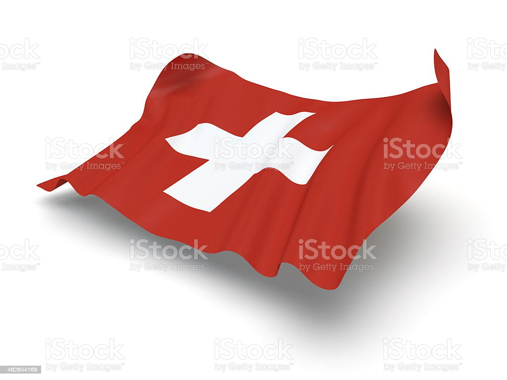 Hovering Flag of Switzerland (Clipping Path) stock photo