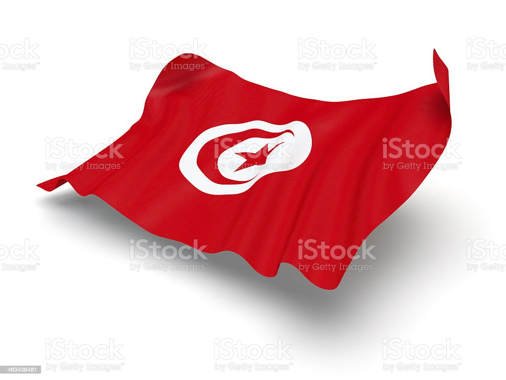 Hovering Flag of Tunisia (Clipping Path) stock photo