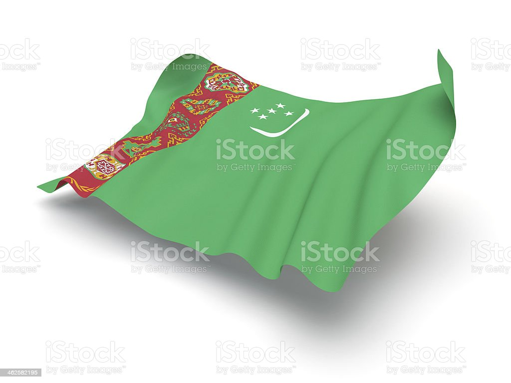 Hovering Flag of Turkmenistan (Clipping Path) stock photo