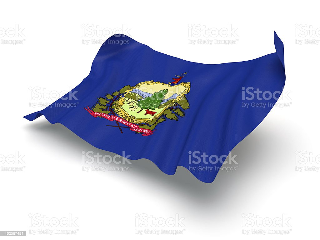 Hovering Flag of Vermont (Clipping Path) stock photo