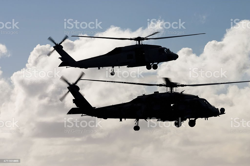 Hovering Helicopters stock photo