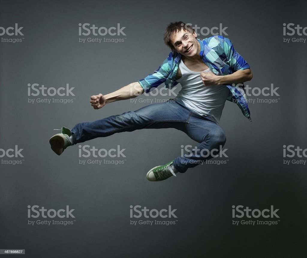 Hovering in jump stock photo
