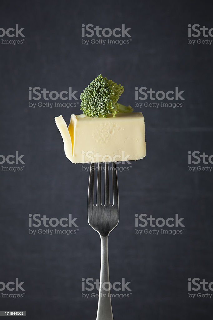 How about some broccoli with your butter royalty-free stock photo