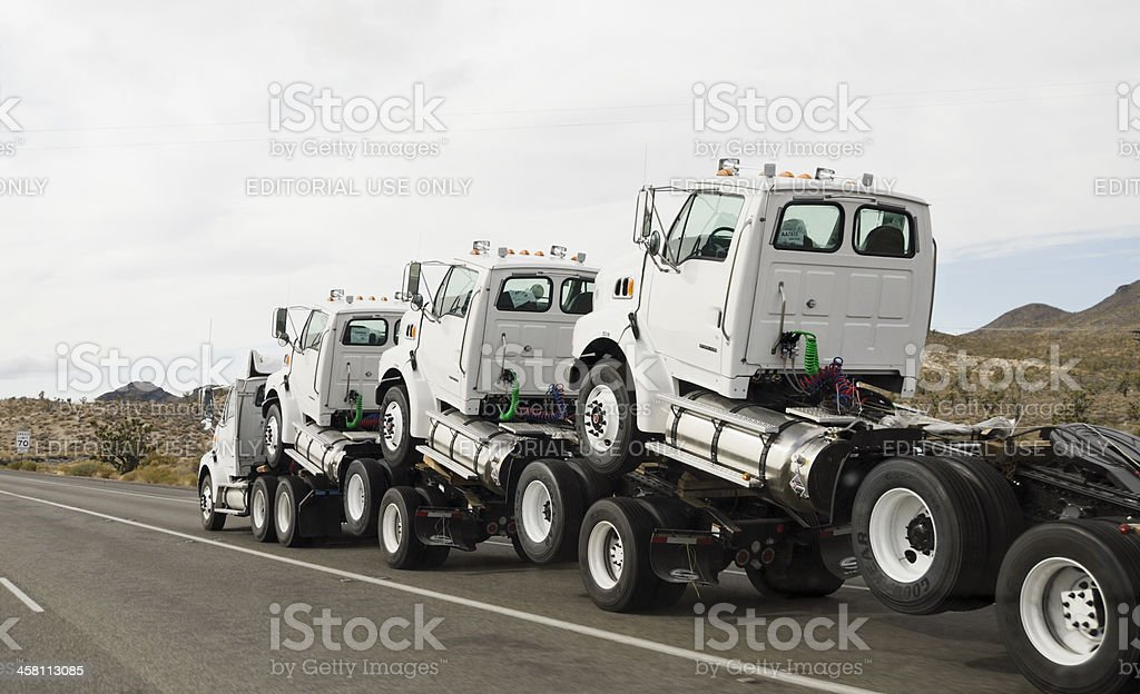 How commercial trucks get delivered stock photo