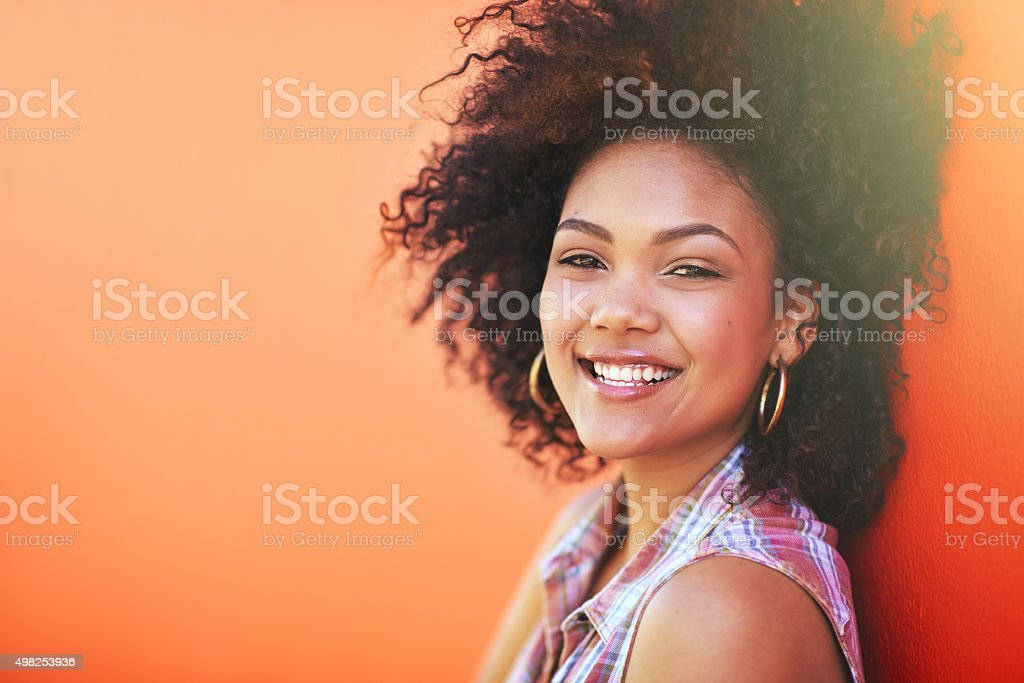 How cool are her curls? stock photo