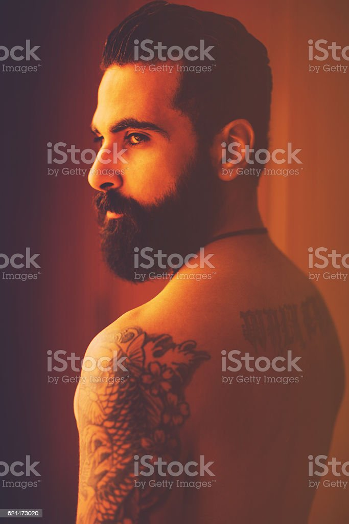 How is my new tattoo? stock photo