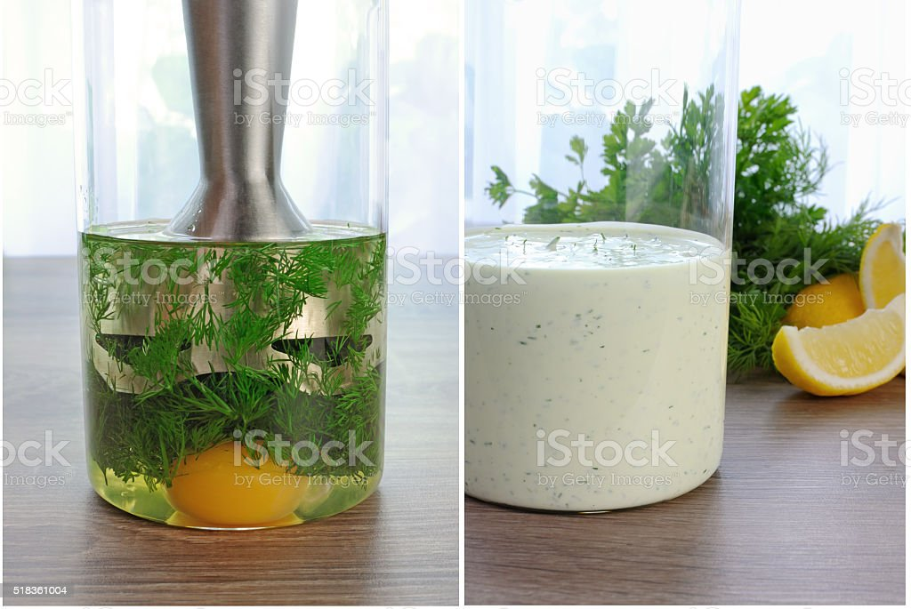 how to cook a cream sauce with dill stock photo