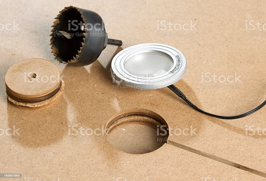 How to install halogen lamp in shelf stock photo