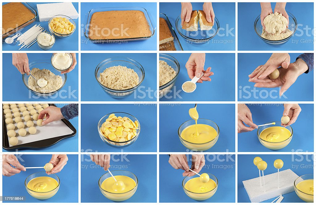 How to make cake pops stock photo