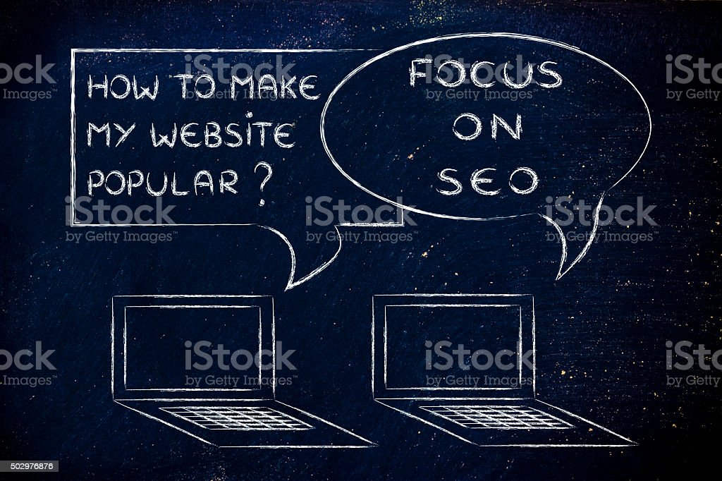 how to make my website popular? focus on SEO stock photo