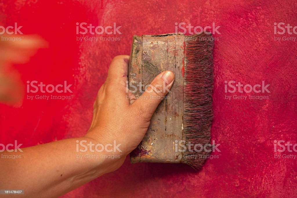 How to make original wall, close-up painting. royalty-free stock photo