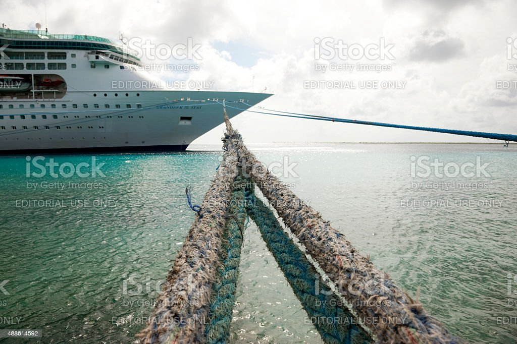 How to tie up a big ship? stock photo