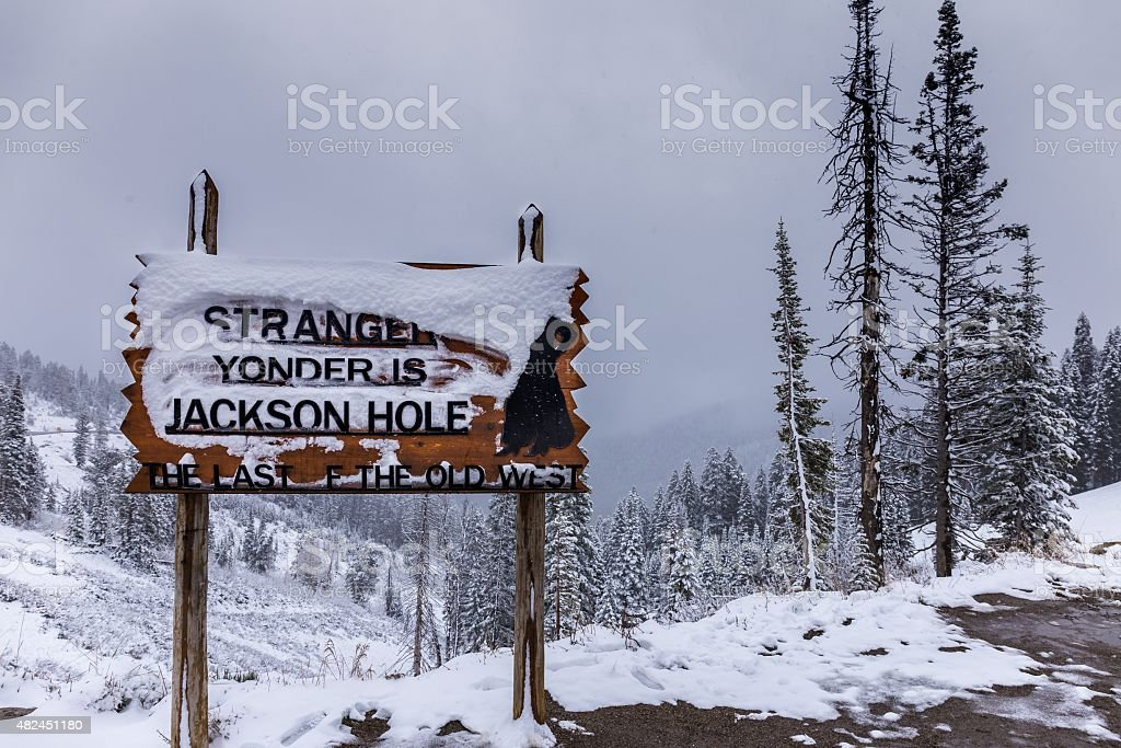 Howdy Stranger! Yonder is Jackson Hole, stock photo