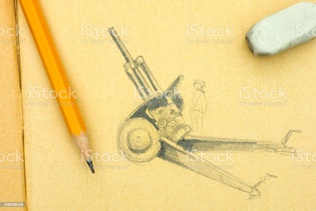 Howitzer. Pencil drawing with yellow pencil and eraser.