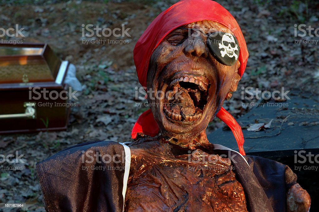 Howling Pirate Corpse and Coffin stock photo