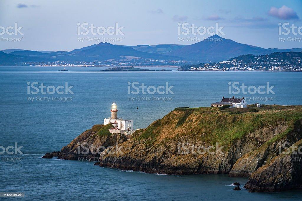 Howth lighthouse before sunrise stock photo