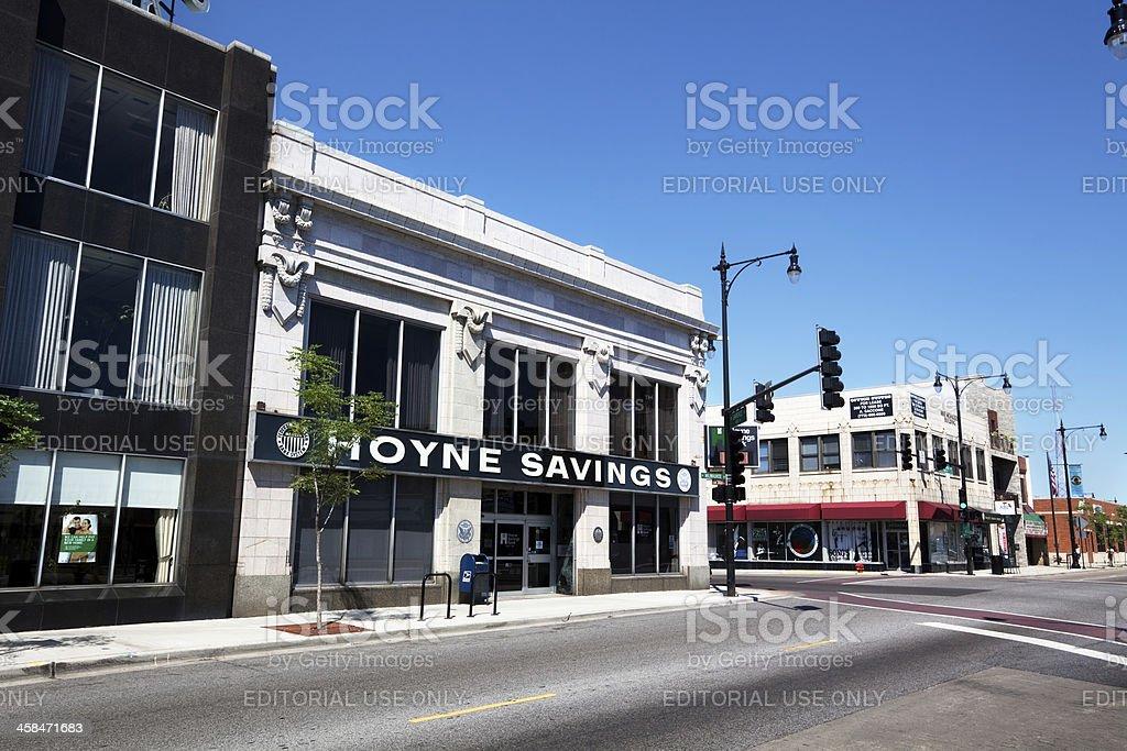 Hoyne Savings Bank Building in Portage Park, Chicago stock photo