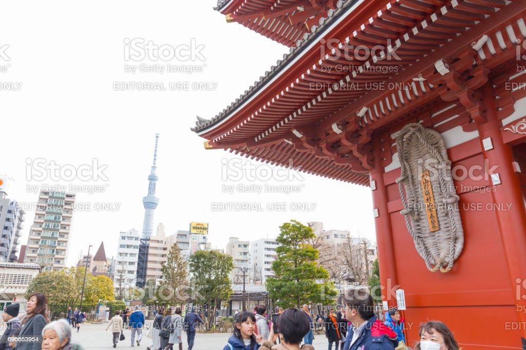 Hozomon, Treasure house gate of Sensoji temple and Tokyo skytree February 18, 2017 in Tokyo, Japan stock photo