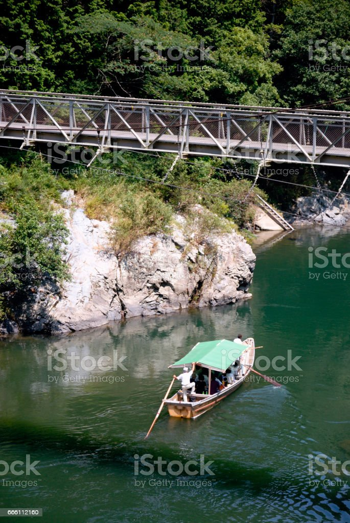 Hozu River and suspension bridge stock photo