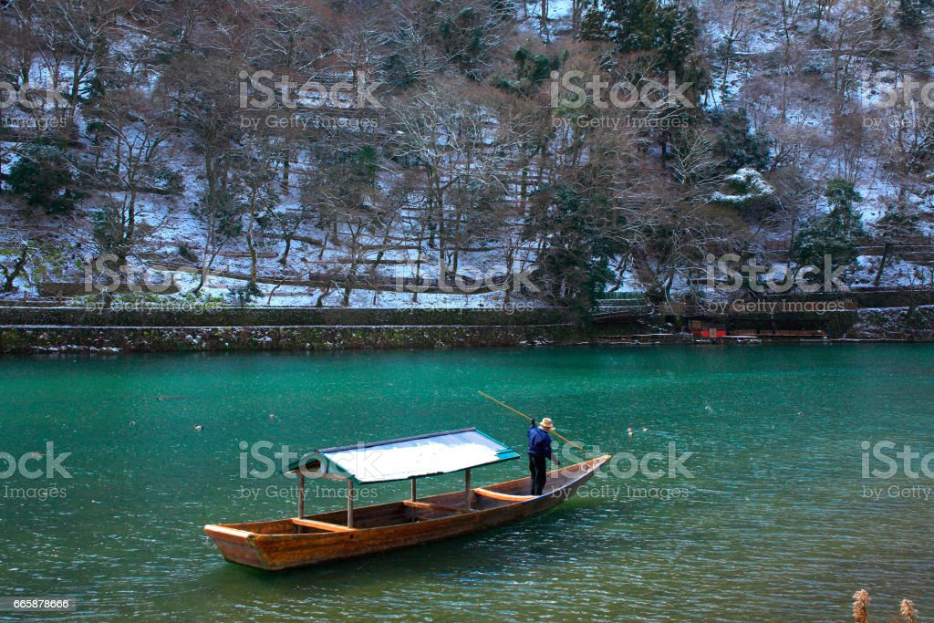 Hozu-gawa River in winter stock photo