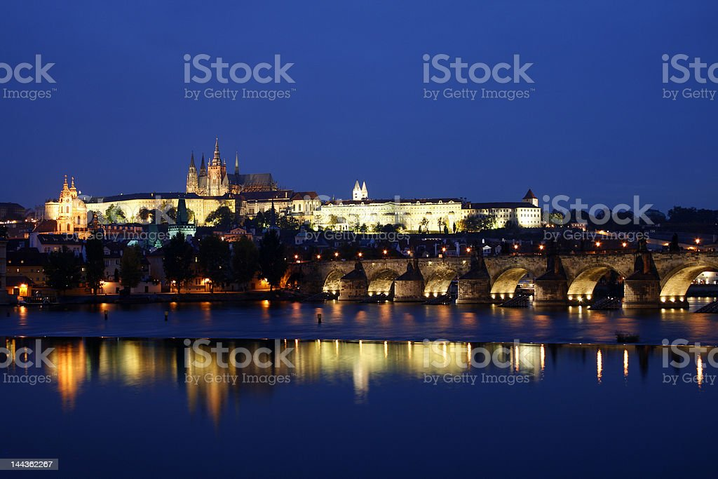 Hradcany Castle by night royalty-free stock photo