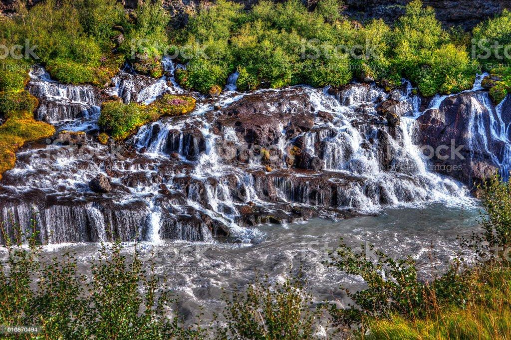 Hraunfossar waterfall stock photo