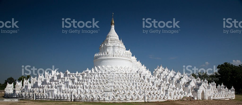 Hsinbyume or Myatheindan Paya (pagoda). Mingun, Myanmar stock photo