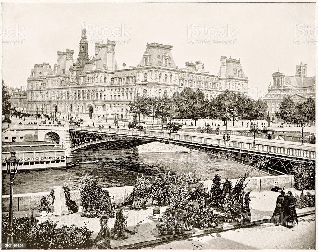 Hôtel de Ville, Paris, France in 1880s stock photo