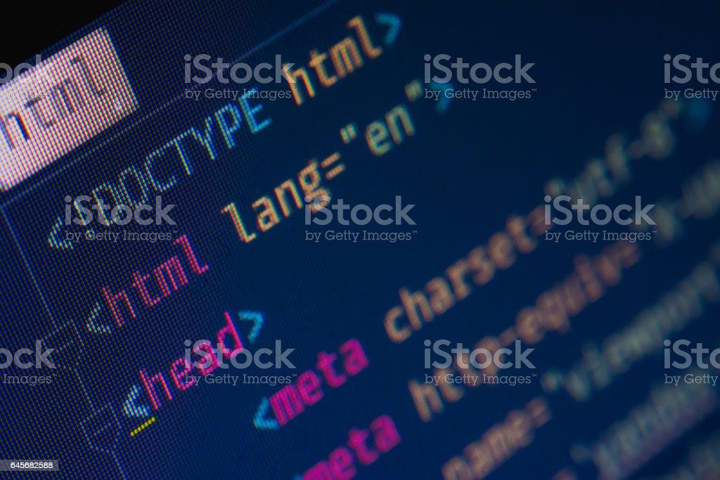 Html header markup stock photo