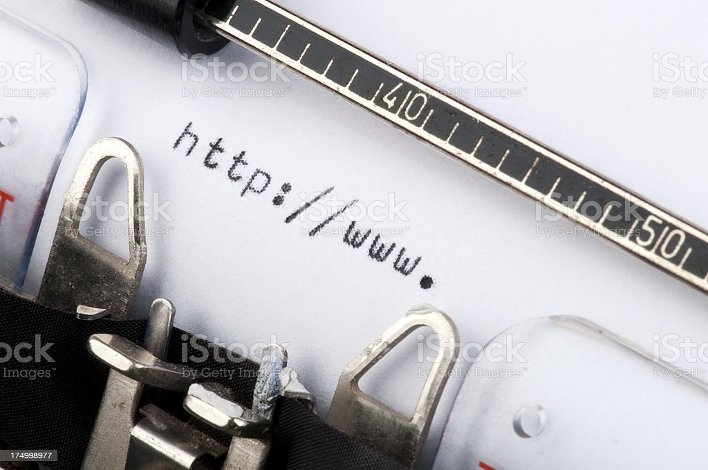http://www. typed on old typewriter royalty-free stock photo