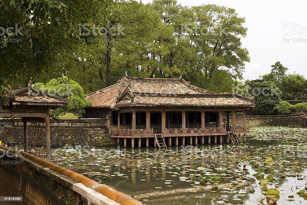 Huè - Raining on pond and lotus flower stock photo