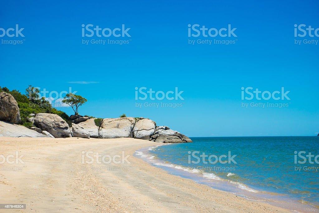 Hua hin Beach  and big stone stock photo